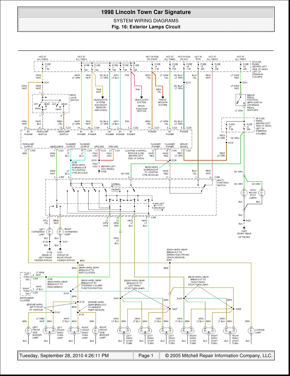 1998 Lincoln Town Car Signature System Wiring Diagrams ...
