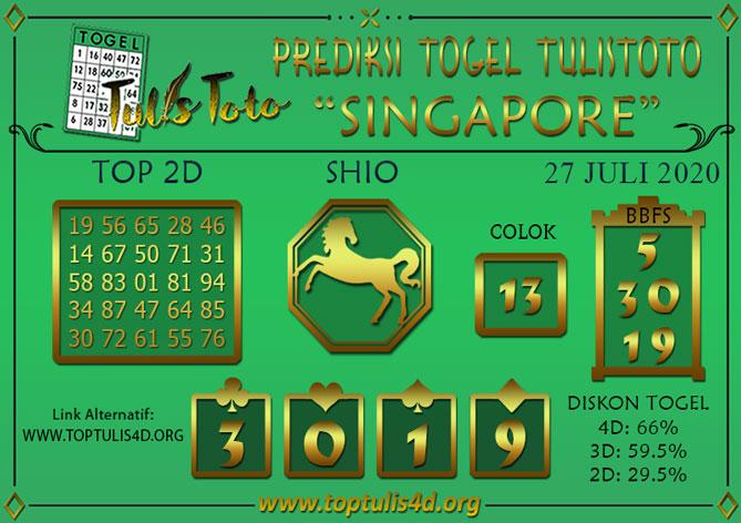 Prediksi Togel SINGAPORE TULISTOTO 27 JULI 2020