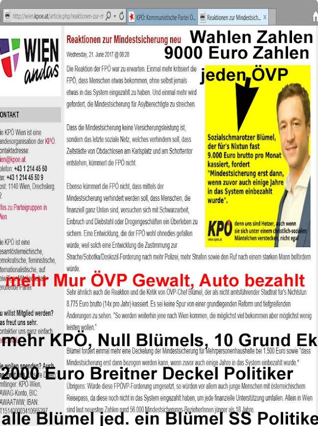 Sozial Schmarotzer ÖVP Bedarfs Orientierte 9000 Euro 130 000 S im Monat für ÖVP Nichtsnutze, Räuber u AG Mörder Bonzen KPÖ d Leben, ÖVP- FPÖ bringt uns um