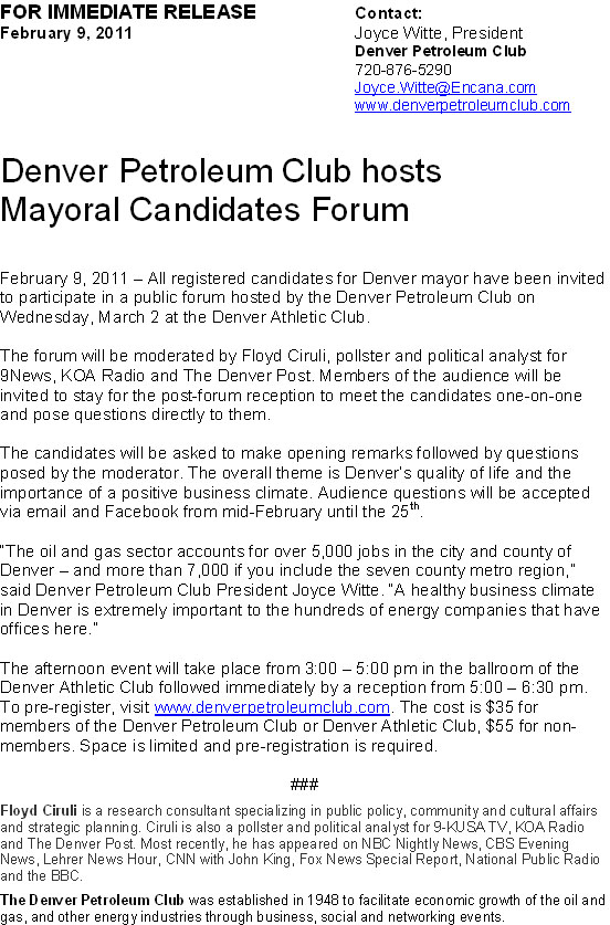 The Buzz: Denver Petroleum Club and DAC Host Mayoral
