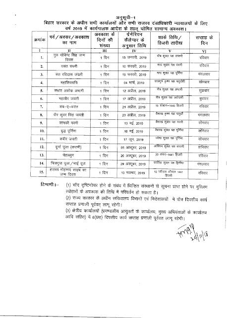 Bihar Govt Calendar 2019