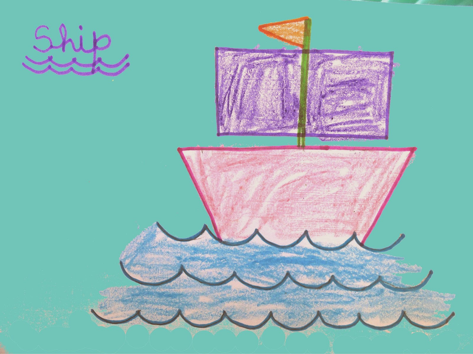 ship drawing for kids