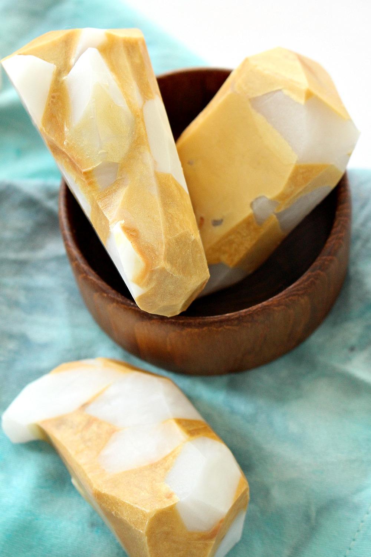 DIY Crystal + Gold Gemstone Soap