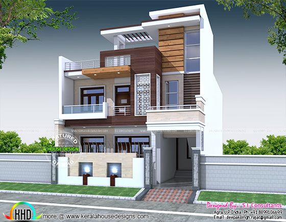 30 Feet Front Elevation : Decorative bedroom house architecture kerala home