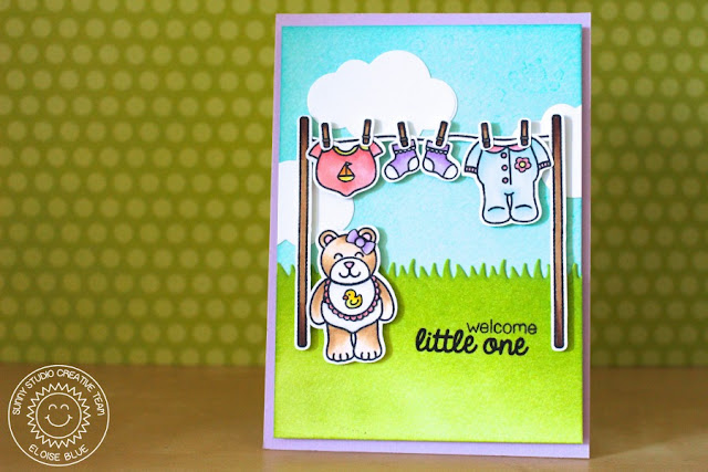 Sunny Studio Stamps: Baby Bear Welcome Little One Clothesline card by Eloise Blue.