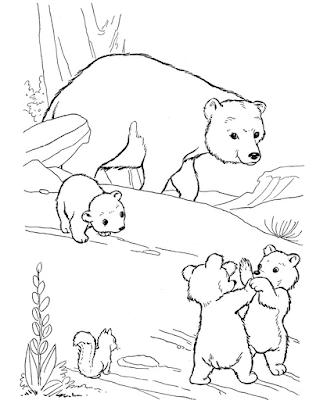 Gambar mewarnai beruang untuk anak - 9