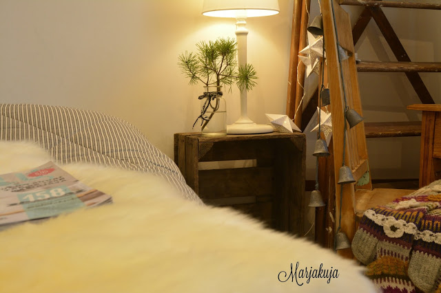 makuuhuoneen talvinen sisustus
