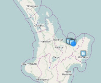 Earthquake epicenter map of Whakatane, New Zealand