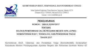 CPNS Kemenristekdikti 2017 Terbaru