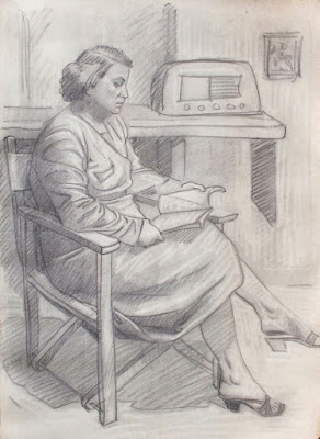 Coppia di ritratti - anni '50 - arte - disegni - annunci