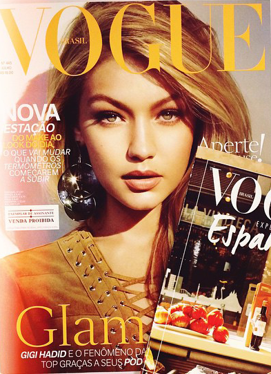 Gigi Hadid is glamorous for the Vogue Brazil July 2015 Cover