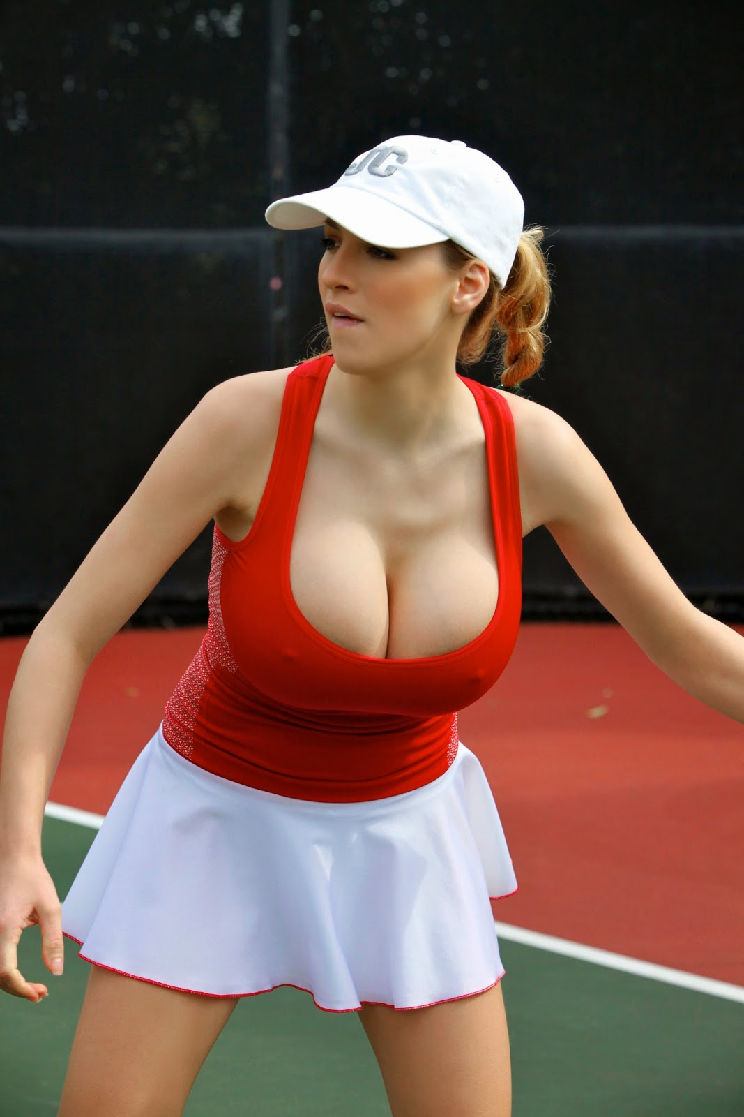 Jordan Carver Playing Hot Tennis Big Boobs Cleavage Show -1397