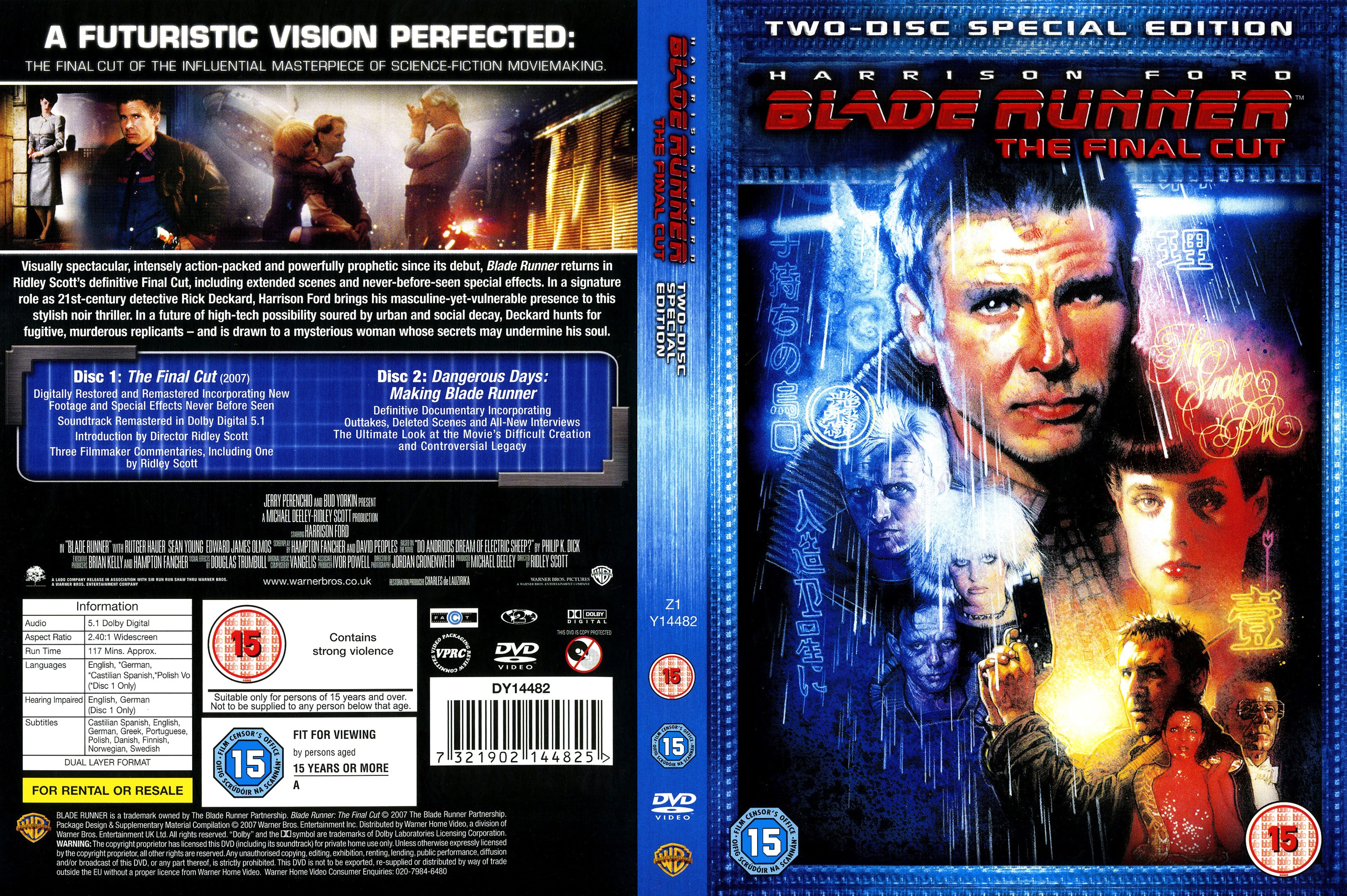 Blade Runner: The Final Cut DVD Cover - Cover Addict - DVD ... - photo#48