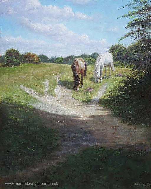 martin davey artwork white and brown horse sunny