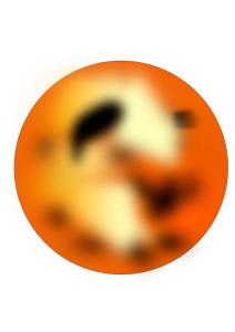 Imagen del planeta Mercurio de color naranja mezclado con rojo y negro