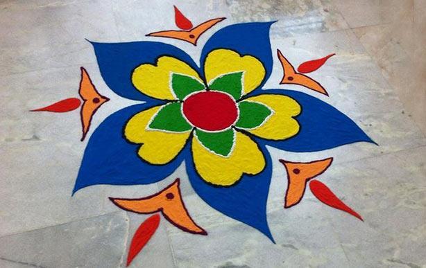 Flower rangoli design easy