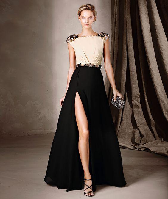 Vestido de noche bicolor