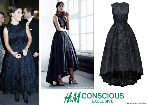 Crown Princess Victoria wore H&M Conscious Exclusive Collection Navy Blue Floral Brocade Dress