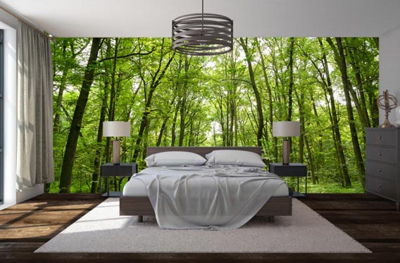 skogstapet trädstammar sovrum fototapet skog fondtapet 3d