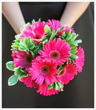pink and green gerber daisy bouquet