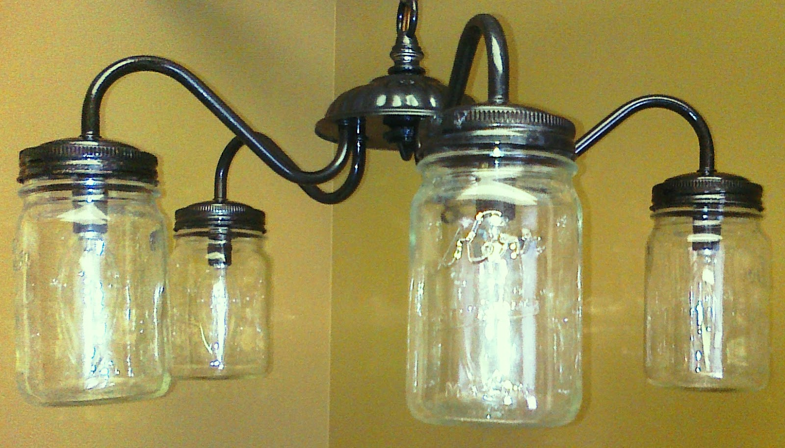 Make Your Own Mason Jar Chandelier From An Old Light
