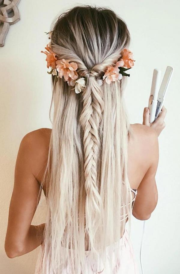 luxury blond wearing flowers