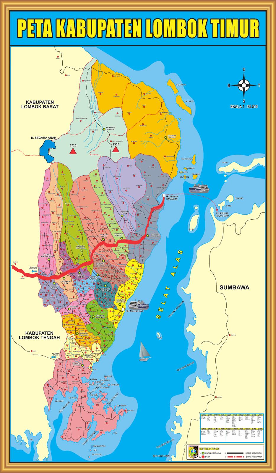Peta Kabupaten Lombok Timur