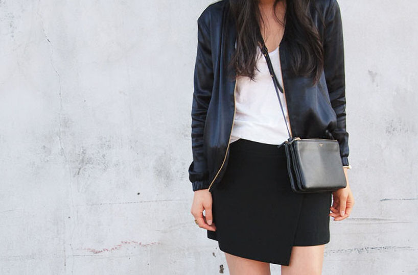 wrap skirt, asymmetrical skirt, blogger wrap skirt, bomber jacket, celine trio bag