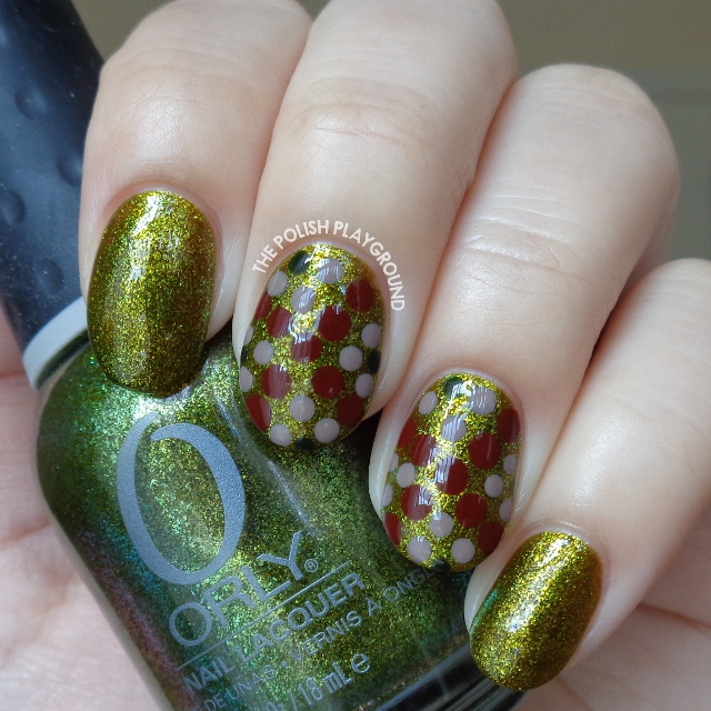 Green Shimmer Fleck with Dotting Design Nail Art