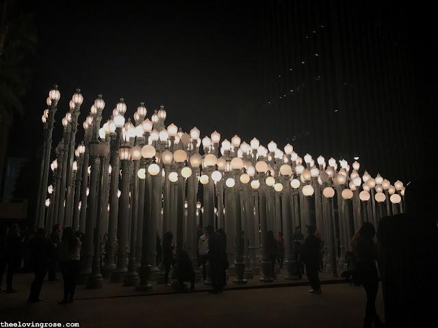 Lacma lights at night