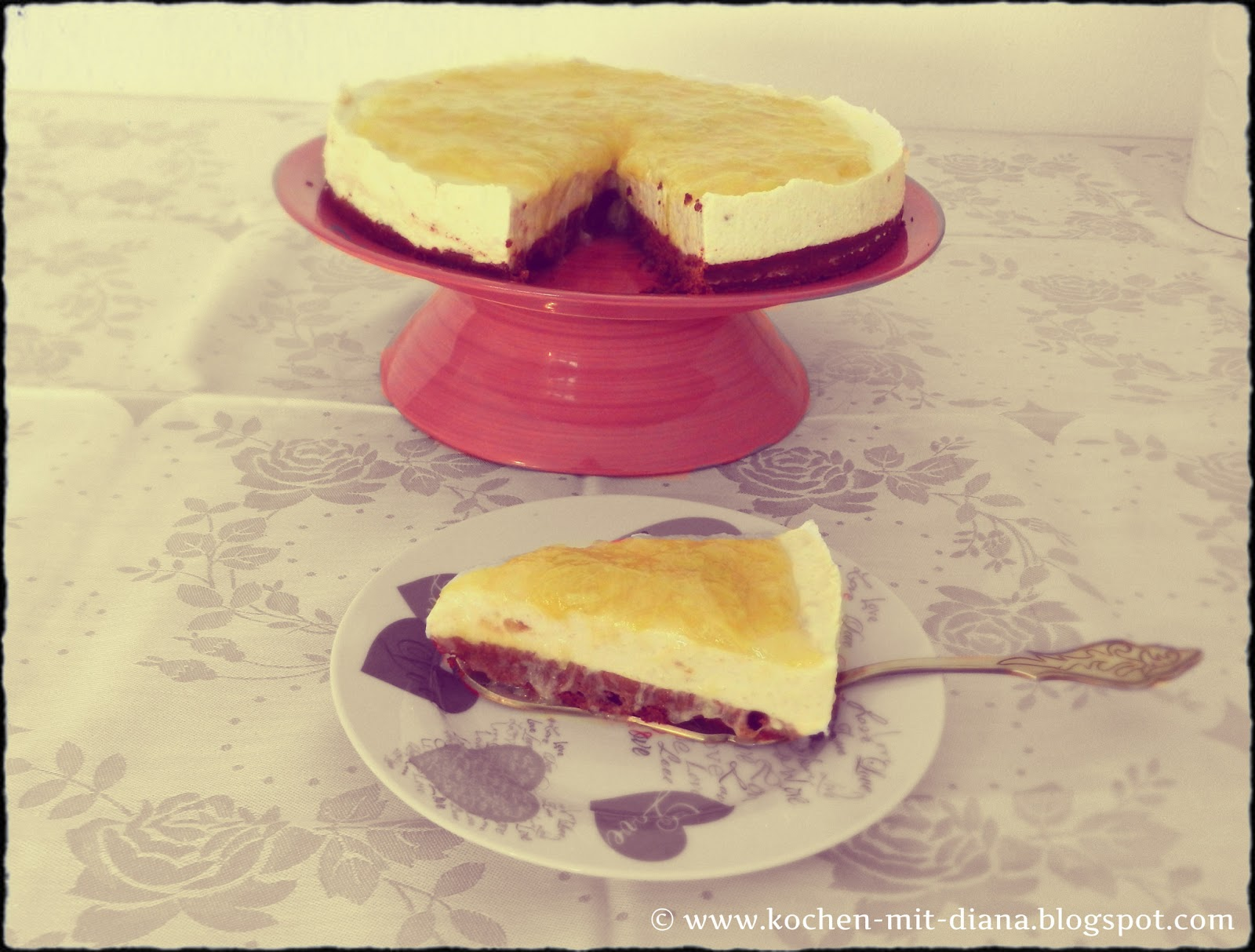 Brownie-Rhabarber Cheesecake
