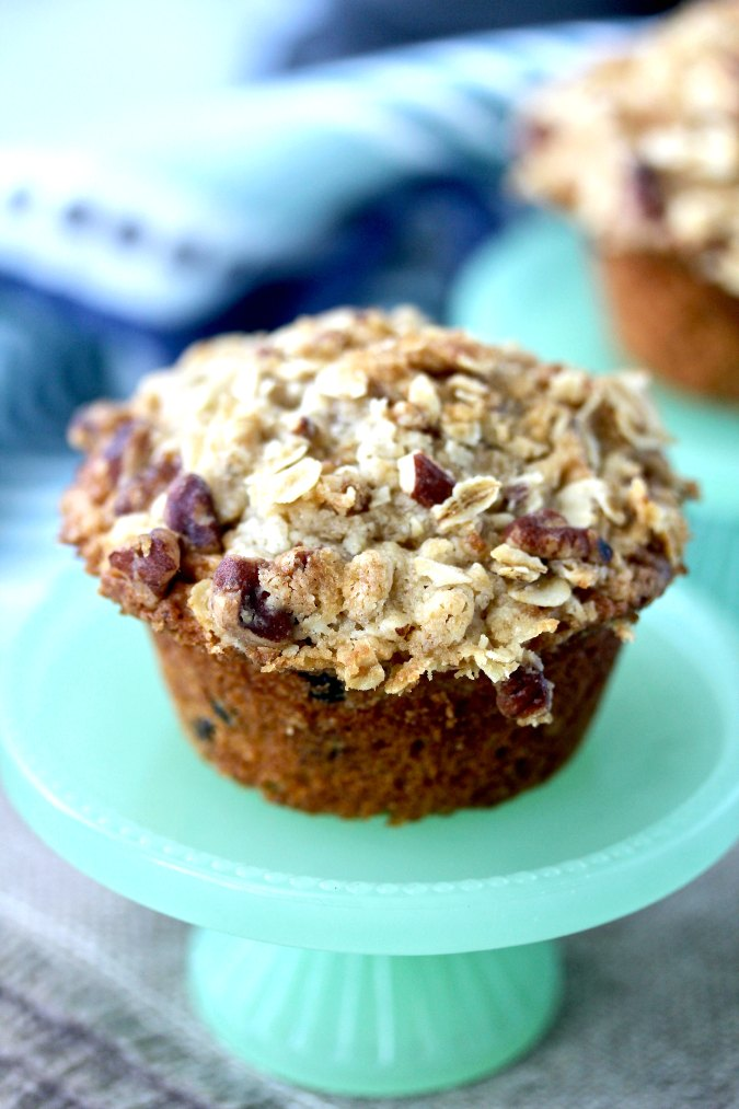 Oatmeal apple and blueberry muffins