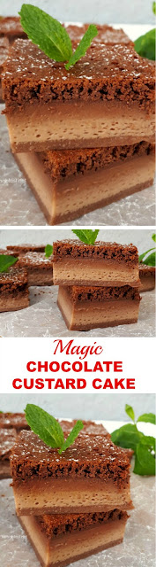 Decadent ! Mix and bake, so easy to make this Magic Chocolate Custard Cake