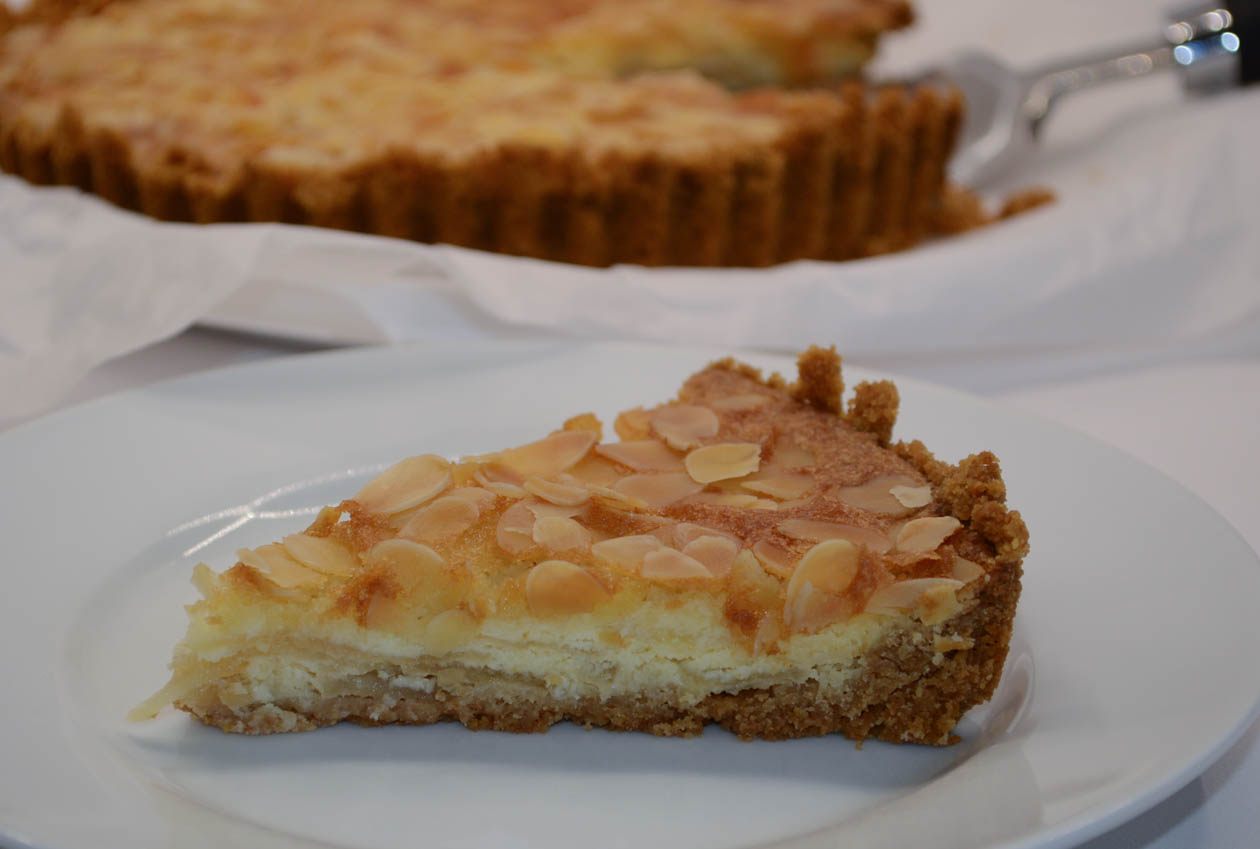 A slice of apple frangipane tart