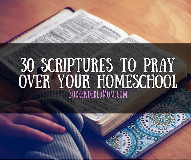 Praying over your homeschool - Free printable! Surenderedmom.com http://www.surrenderedmom.com #homeschool