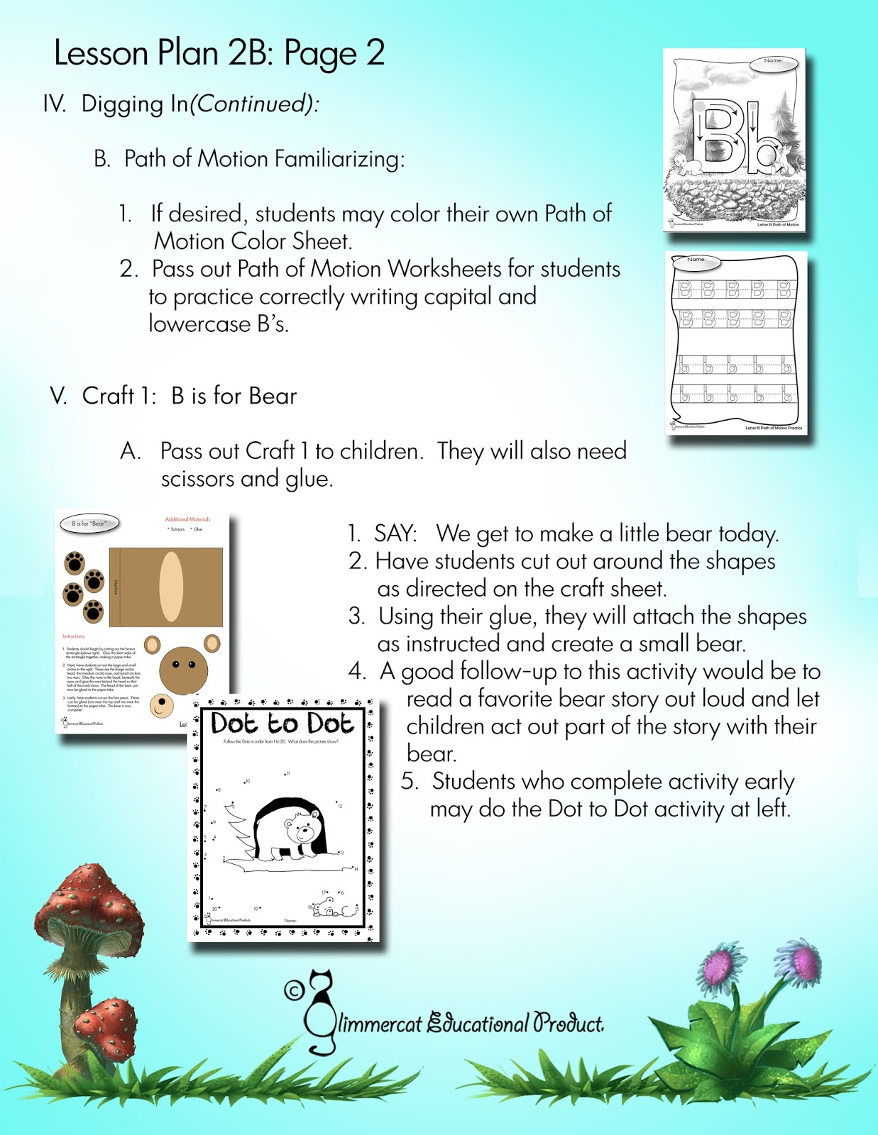 Glimmercat Letter Of The Week Packet For B