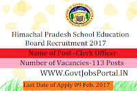 HP School Education Board Recruitment for 113 Clerk Posts 2017