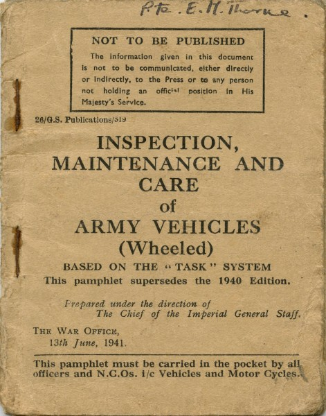 Inspection, Maintenance and Care of Army Vehicles Pamphlet 13 June 1941 worldwartwo.filminspector.com