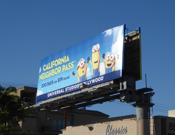 Universal Studios California Neighbor Pass Minions billboard