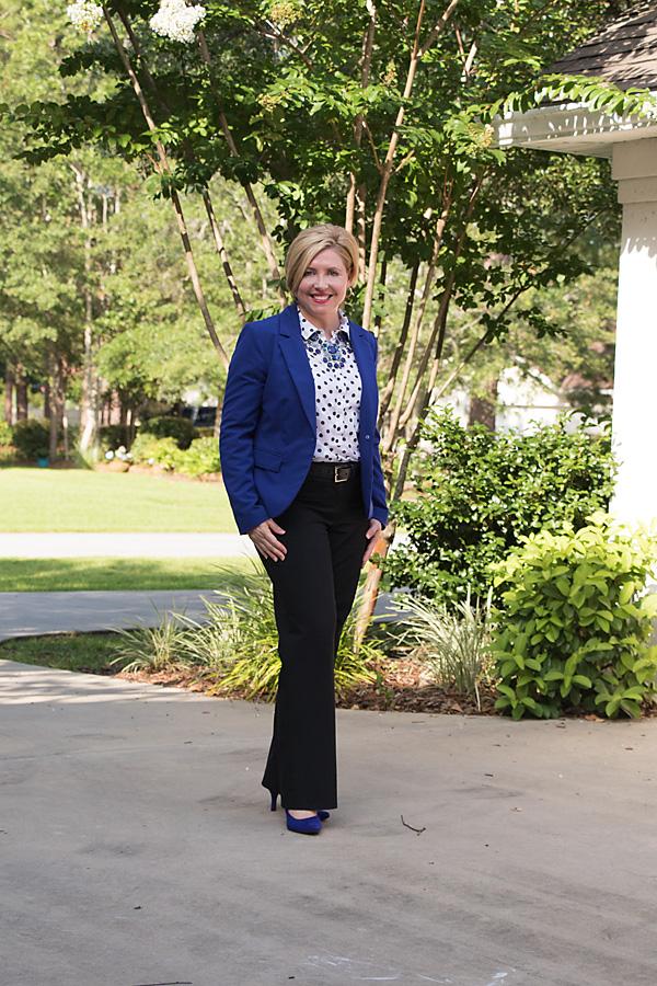 Monday blues outfit, cobalt blue blazer, polka dot top, statement necklace