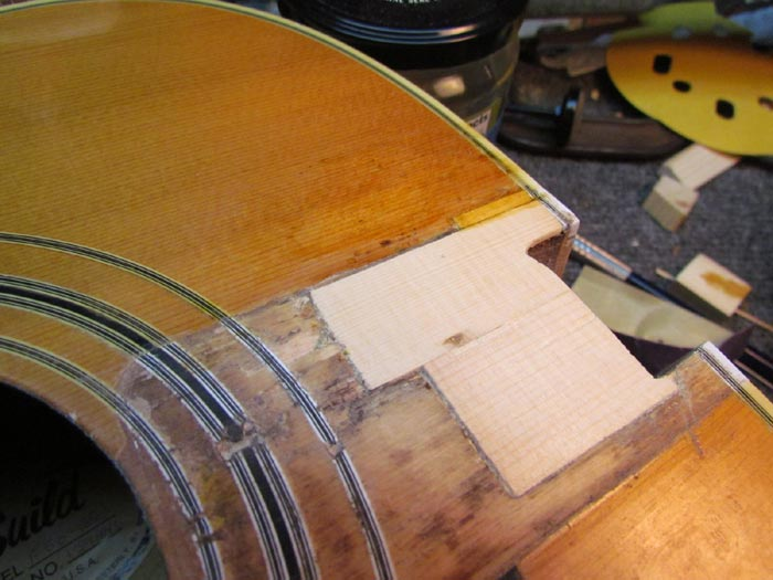 Spruce Repair Patch For Acoustic Guitar Top Crawls Backward When