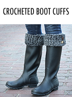 Crocheted boot toppers for rainboots