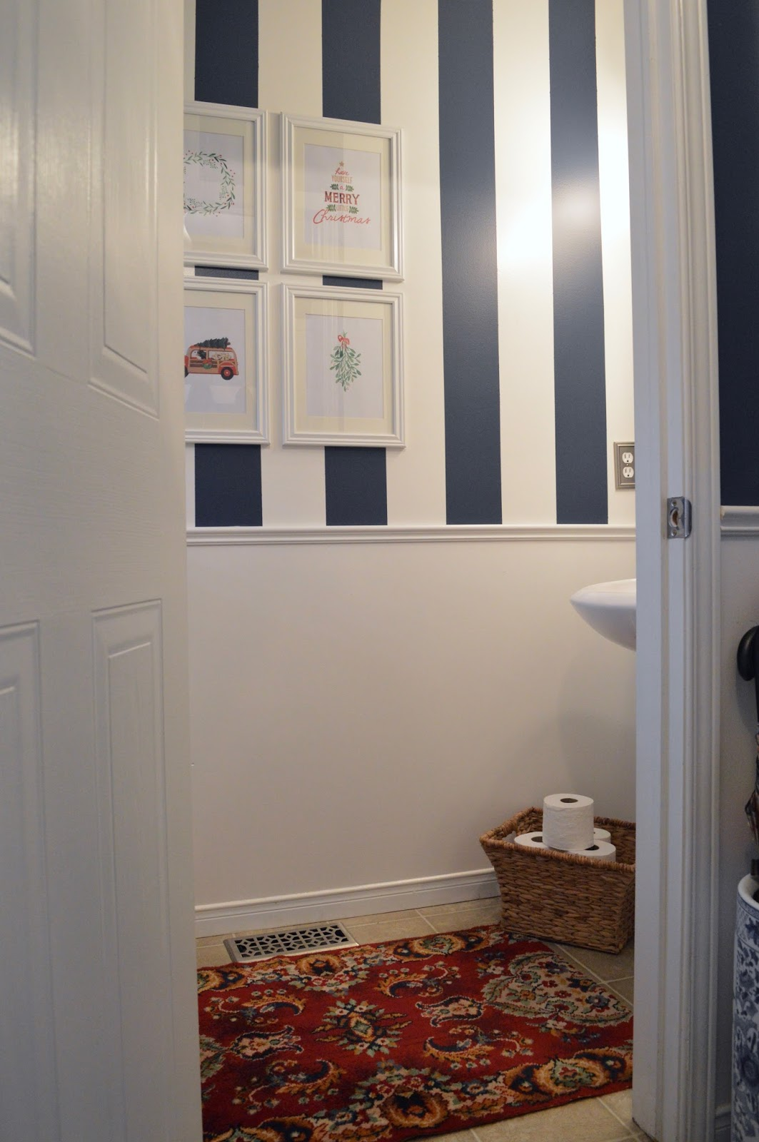 Navy Stripe Powder Room