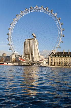 London Eye seen from Westminster, UK