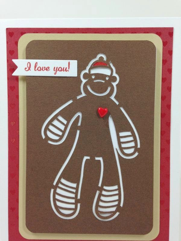 Close To My Heart Artfully Sent Cricut Cartridge Sock Monkey card closeup