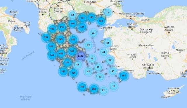 Χάρτης της ηλεκτρομαγνητικής ακτινοβολίας στην Ελλάδα