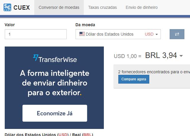 Um Conversor De Moedas Português Que Anuncia Como Enviar Dinheiro Fácil Para O Estrangeiro Cuex