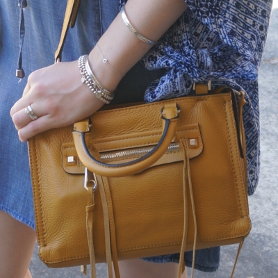 chambray, Rebecca Minkoff micro Regan satchel in Harvest Gold | AwayFromTheBlue