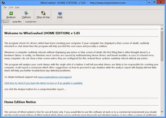 WhoCrashed Free Home Edition 5.53 | Averigua que controladores causan fallos y reinicios en tu PC