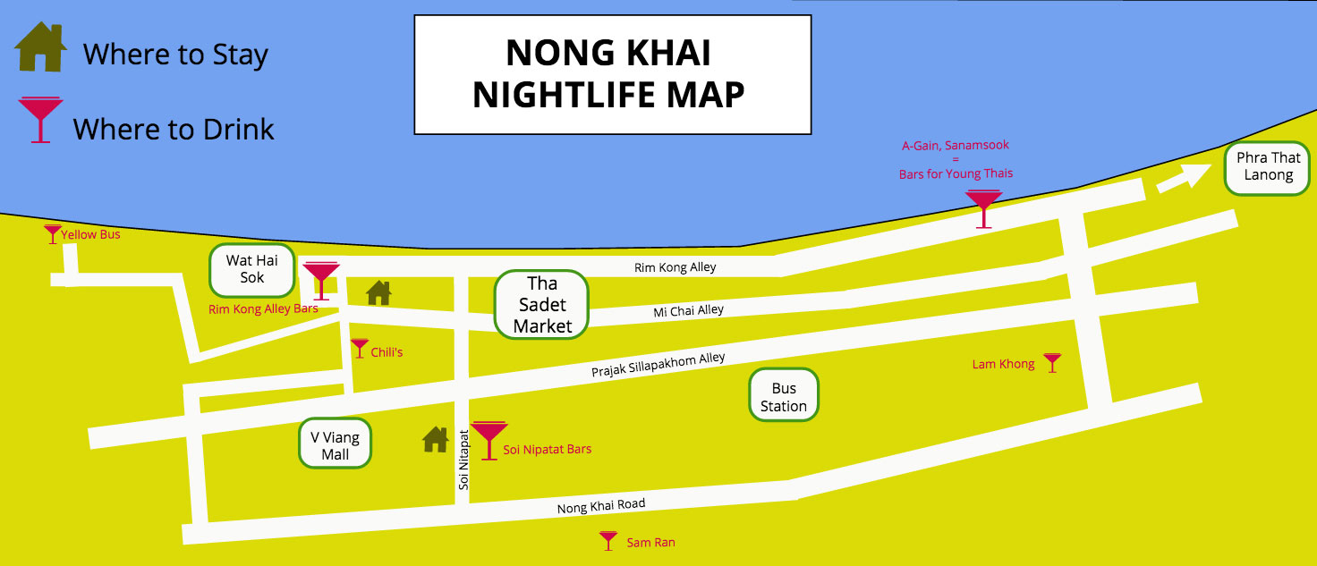 Nong Khai Thailand Map.Nong Khai Nightlife Where To Party And Drink Jakarta100bars